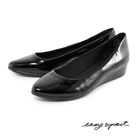 Easy Spirit--百搭經典素色真皮楔型鞋--漆皮黑