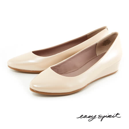 Easy Spirit--百搭經典素色真皮楔型鞋--典雅米白