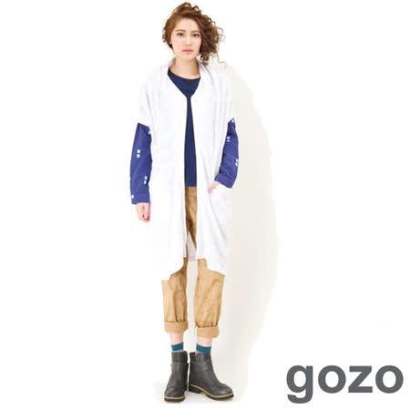 gozo 個性抓皺圖騰長版外套 -白