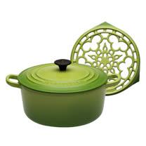 LE CREUSET 琺瑯鑄鐵圓鍋 22cm (棕櫚綠) + 琺瑯鑄鐵鍋架 (棕櫚綠)