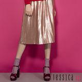 JESSICA RED-PARTY女孩金屬百摺中長裙(粉)