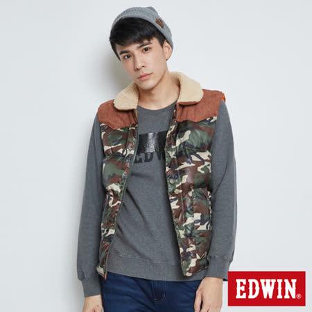 EDWIN 小圓領羽絨背心-男-墨綠