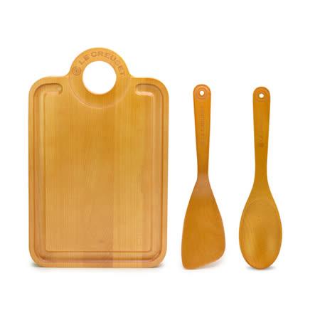 LE CREUSET 楓木砧板+楓木鍋鏟+楓木湯匙