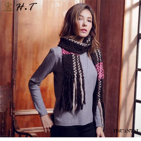 玄太-圓領純色造型針織上衣(灰)