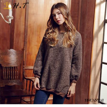 玄太- 休閒圓領配色造型下擺寬鬆長版上衣(咖啡)