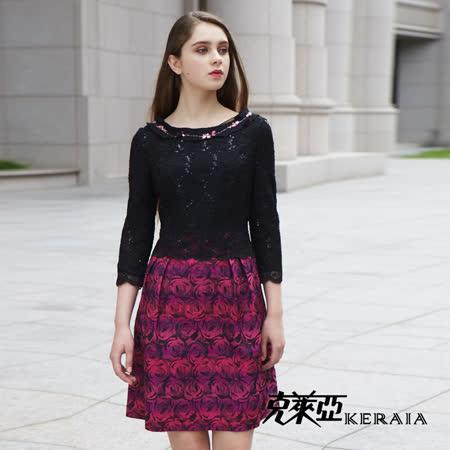 【克萊亞KERAIA】細緻蕾絲玫瑰緹花洋裝