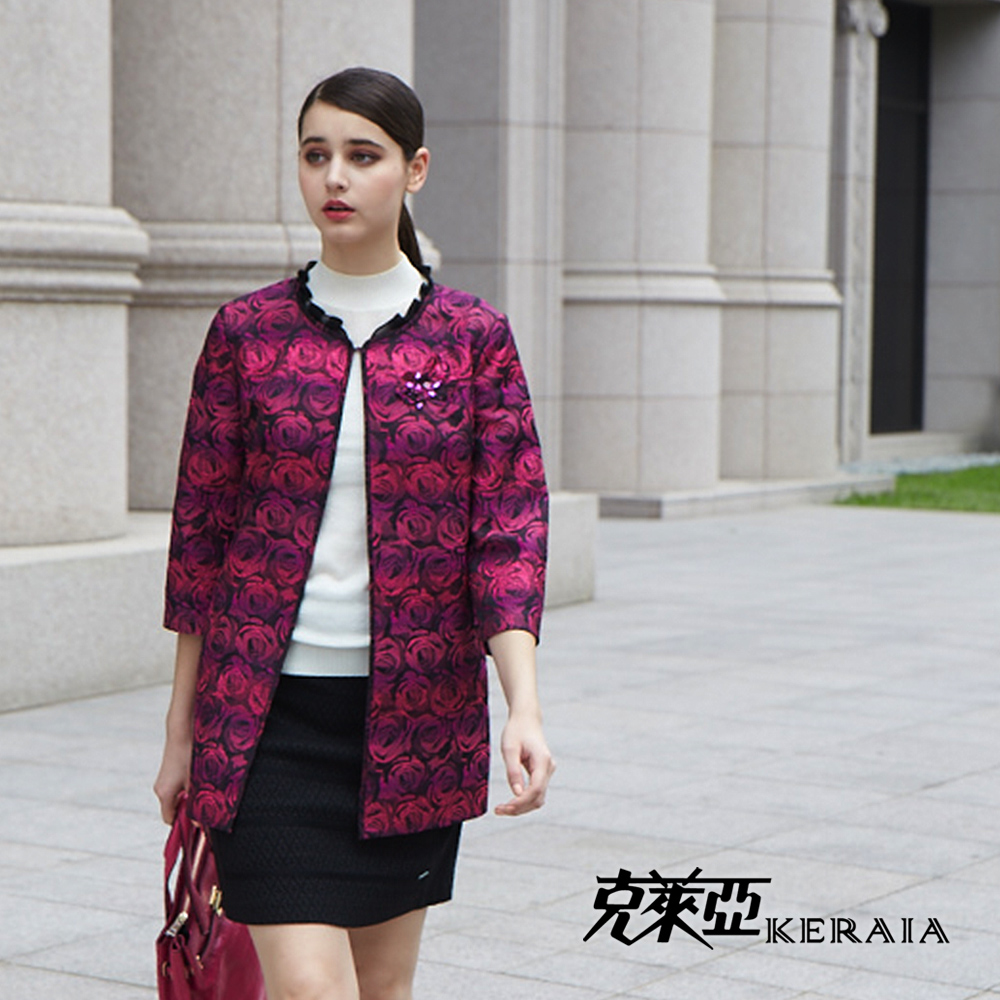 【克萊亞KERAIA】玫瑰緹花氣質長版外套