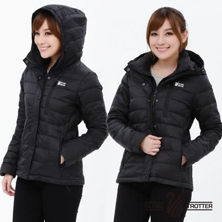 【遊遍天下】女款假二件式JIS90%羽絨防風防潑水極暖羽絨外套G0339黑色