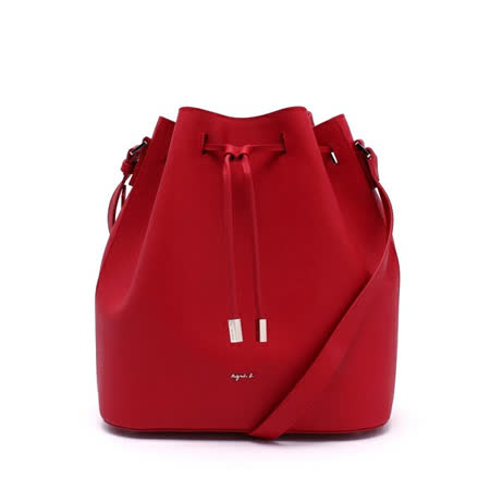 【agnes b.】經典防刮牛皮斜背水桶包-(紅色/小)
