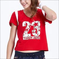 TOUCH AERO  V領個性短版T恤 TA571