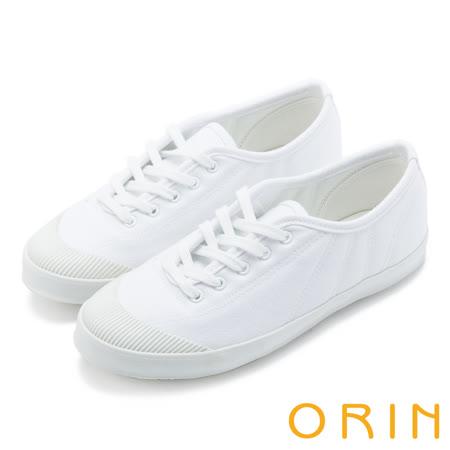 ORIN 休閒舒適 質感綁帶素面休閒平底鞋-白色