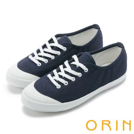 ORIN 休閒舒適 質感綁帶素面休閒平底鞋-深藍