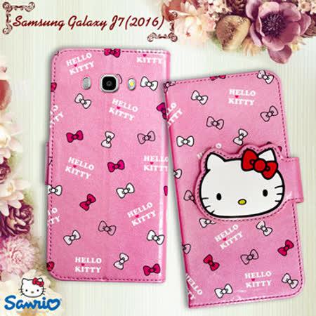 三麗鷗授權正版 Hello Kitty 凱蒂貓 Samsung Galaxy J7 (2016) 閃粉絲紋彩繪皮套(蝴蝶結粉)