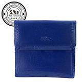 Sika義大利時尚真皮經典短夾A8288-05亮寶藍