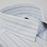 【金安德森】白底寬紋藍白條紋長袖襯衫