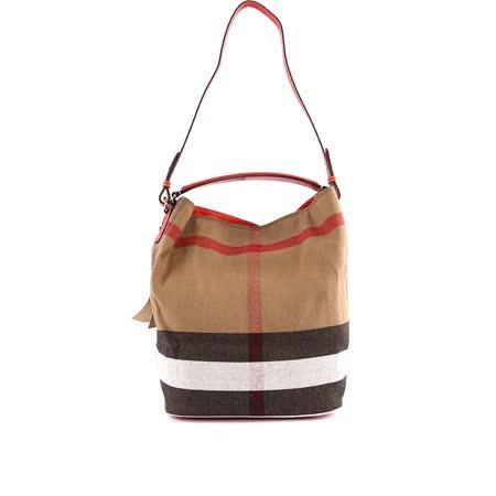 【BURBERRY】棉麻混紡手提/肩背二用包