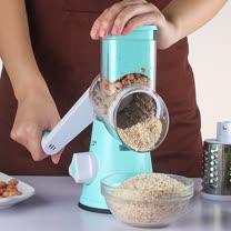 PUSH!廚房用品 可換滾筒手搖式防切手刨絲器切絲切菜切片器D97藍色