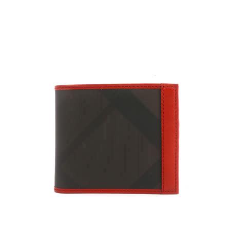 【BURBERRY】黑灰格滾紅色皮革邊二折短夾