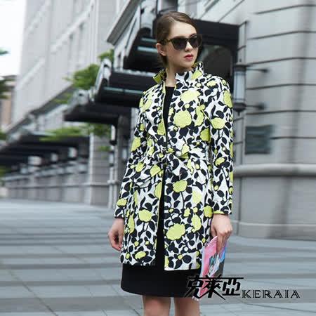 【克萊亞KERAIA】立體感緹花立領長版外套