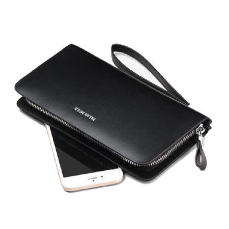 PUSH!男士長夾可放手機的拉鍊手腕帶防搶式二層真牛皮夾零錢包PUSH20黑色