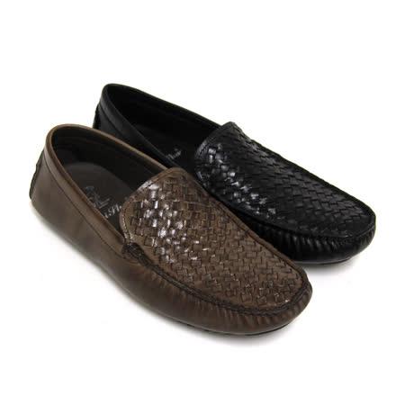 【GREEN PHOENIX】街頭雅痞編織手染煙燻套入式全真皮平底休閒鞋(男款)