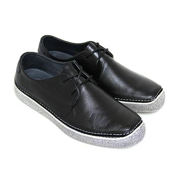 【GREEN PHOENIX】質感崇尚極簡素面仿舊綁帶全真皮平底休閒鞋(男款)