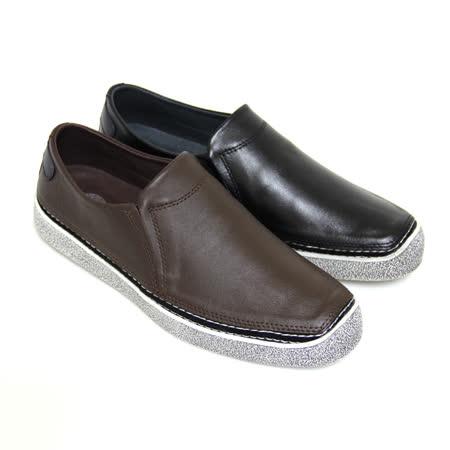【GREEN PHOENIX】俐落沉穩極簡素面套入式仿舊全真皮平底休閒鞋(男款)