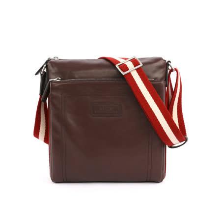 【BALLY】 雙拉鏈牛皮日字斜背包(巧克力色)