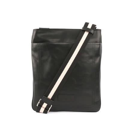 【BALLY】拉鏈小牛皮黑織帶斜側背包(黑色)