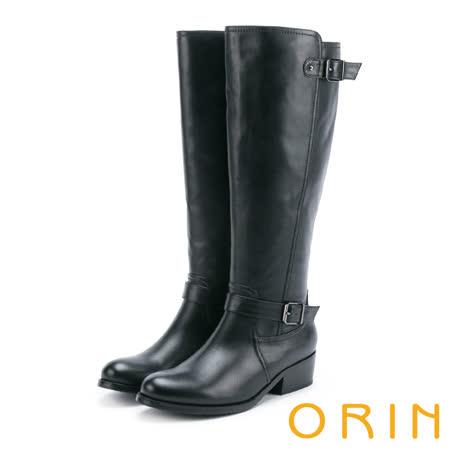 ORIN 時髦簡約 側邊拉鍊造型皮帶騎士低跟長靴-黑色