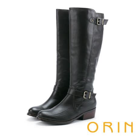 ORIN 時髦簡約 側邊拉鍊造型皮帶騎士低跟長靴-咖啡