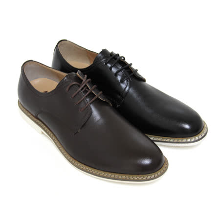 【GREEN PHOENIX】穩重質感素面綁帶全真皮短筒平底休閒鞋(男款)