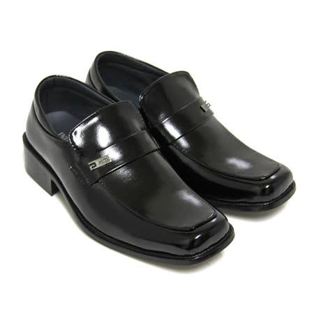 【GREEN PHOENIX】直套式方頭漆皮低跟學生皮鞋(男款)