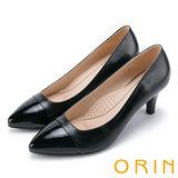 ORIN 典雅氣質 柔軟羊皮素面百搭尖頭跟鞋-黑色