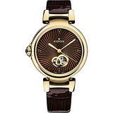 EDOX LaPassion Open Heart Lady 機械錶-咖啡/33mm E85025.37RC.BRIR