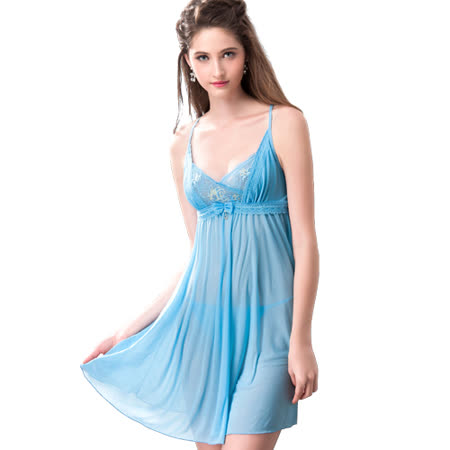 【思薇爾】撩波系列連身蕾絲性感小夜衣(水瓶藍)