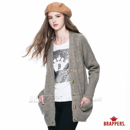 BRAPPERS 女款 女用粗針織毛衣長版外套-麻灰