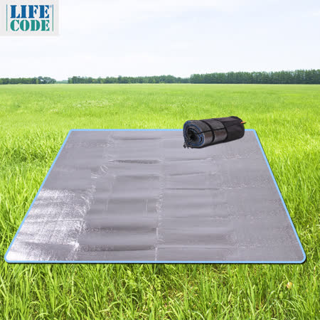 PEKYNEW雙面加厚防水鋁膜墊/野餐墊-夾3mm海綿(200x200cm)-附束口袋
