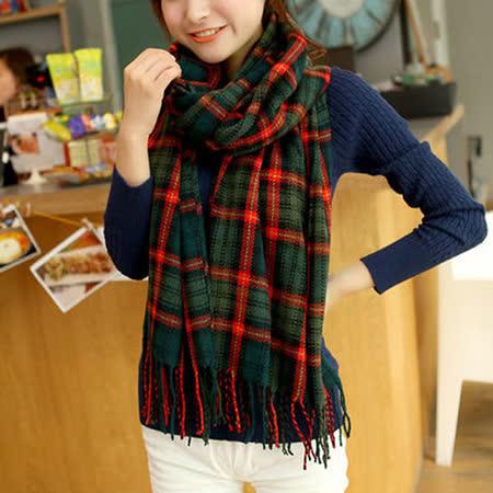 【幸福揚邑】百搭情侶羊絨質感格紋保暖圍巾/披肩-綠橘細格