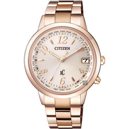 CITIZEN 星辰 XC 鈦 光動能電波萬年曆女錶-玫瑰金/36mm CB1105-53B