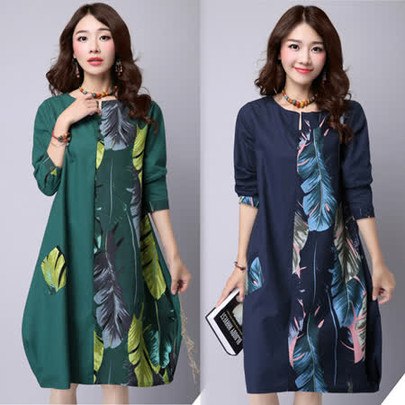 【韓國K.W.】(在台現貨)  韓版拼接印花寬鬆長袖連衣裙