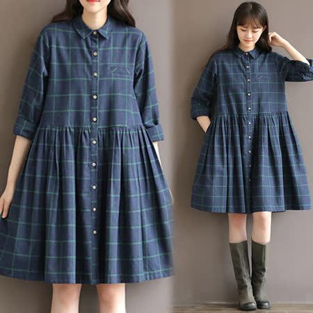 【韓國K.W.】(在台現貨)文藝復古寬鬆百搭格子襯衫裙