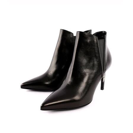 【YSL】小牛皮尖頭拉鏈短靴(黑色)