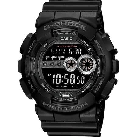 CASIO 卡西歐 G-SHOCK 高亮度LED運動錶-黑 GD-100-1BDR