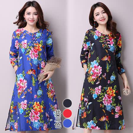 【韓國K.W.】(在台現貨)中式棉麻復古印花洋裝