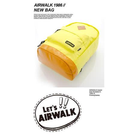 AIRWALK  古著布紋 簡單豬鼻系筆電後背包  小豬黃
