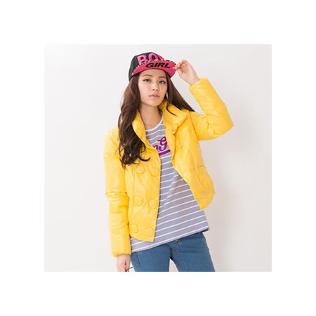 TOP GIRL立領雙排釦羽絨外套(檸檬黃)
