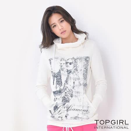 TOP GIRL美式休閒長版連帽T (米白色)