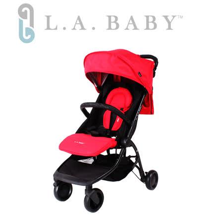 【美國 L.A. Baby】旅行摺疊嬰兒手推車-紅色