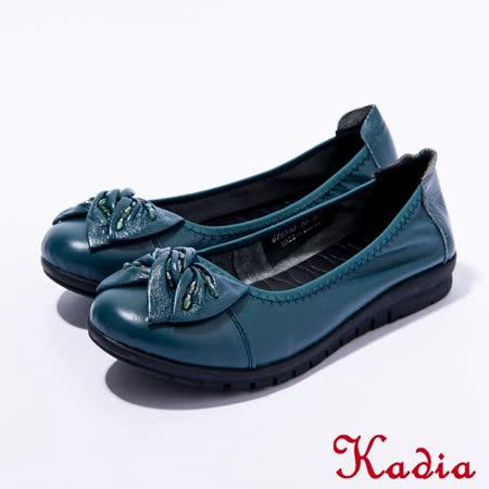 Kadia.舒適通勤 真皮蝴蝶結包鞋(深綠)